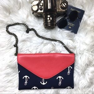 J. CREW Anchor Red and Navy Clutch Shoulder Bag